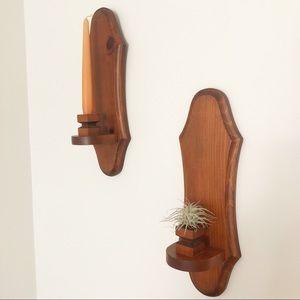 Wooden Handmade Candlestick Wall Holder Set
